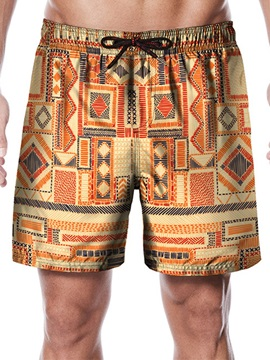 Geometric Print Loose Lace-Up Men's Shorts