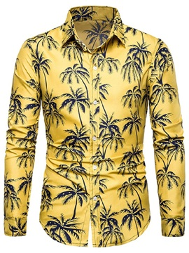 Summer Plant Print Lapel Men's Shirt