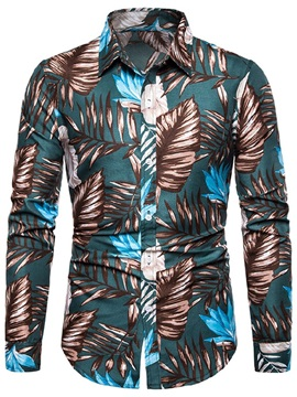 Fashion Plant Lapel Button Men's Shirt