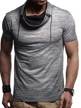 Patchwork Heap Collar Color Block Slim Men's T-Shirt