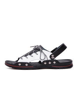 Simple Slip-On Lace-Up Patchwork Men's Sandals