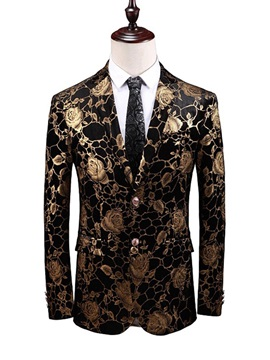 Floral Print Notched Lapel Fashion Men's Blazer