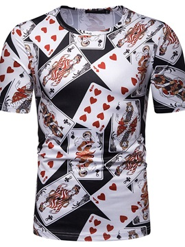 Poker Print Round Neck Short Sleeve Men's T-Shirt