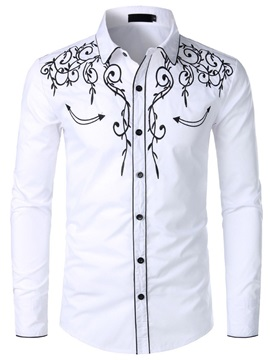 Casual Embroidery Lapel Slim Men's Shirt