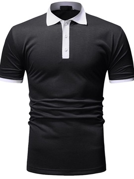 Casual Button Color Block Men's Polo
