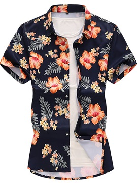 Summer Floral Print Lapel Short Sleeve Men's Shirt