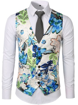 Button Floral Single-Breasted Men's Waistcoat