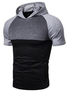 Color Block Patchwork Casual Hooded Men's T-Shirt
