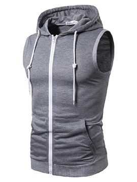 Hooded Slim Plain Zipper Summer Men's Vest