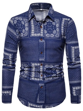 Ethnic Print Lapel Single-Breasted Men's Shirt