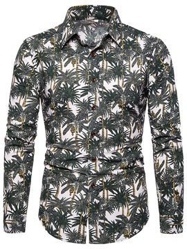 Plant Print Fashion Lapel Men's Shirt