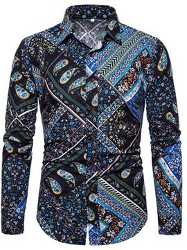 Fashion Ethnic Color Block Lapel Men's Shirt