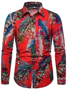 Lapel Color Block Print Fashion Men's Shirt