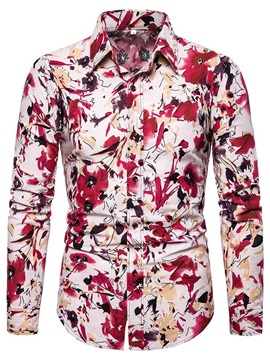 Lapel Color Block Floral Print Men's Shirt