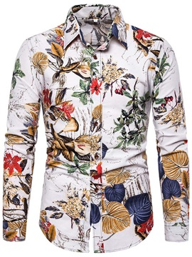 Plant Floral Button Casual Lapel Men's Shirt