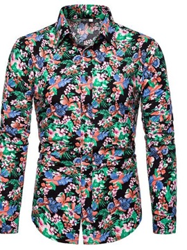 Lapel Print Casual Floral Slim Men's Shirt