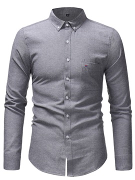 Plain Lapel Button Down Men's Shirt