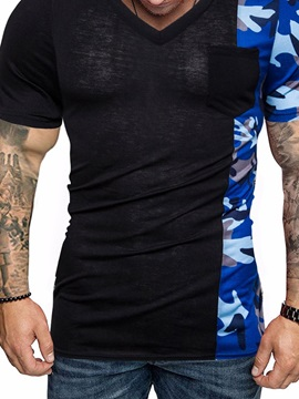 Camo Patchwork V-Neck Color Block Men's T-Shirt