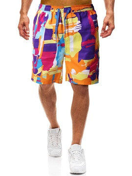 Color Block Patchwork Straight Men's Casual Shorts