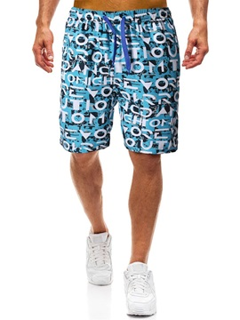 Color Block Straight Print Men's Casual Shorts