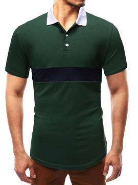 Casual Color Block Patchwork Men's Polo