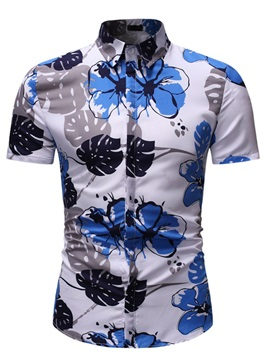 Floral Color Block Lapel Print Men's Shirt