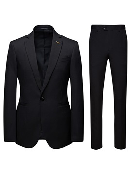 Plain Formal One Button Blazer Pants Men's Dress Suit