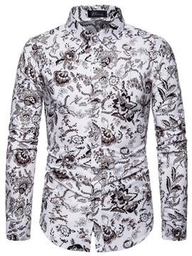 Floral Lapel Long Sleeve Men's Shirt