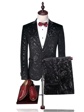 Floral Blazer Pants Single-Breasted Men's Dress Suit