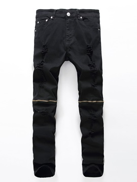Plain Hole Zipper Men's Jeans