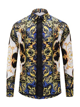 Lapel Fashion Floral Print Slim Men's Shirt