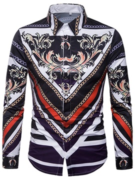 Lapel Print Floral Ethnic Color Block Men's Shirt