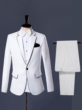 Plain One Button Blazer Pants Men's Dress Suit