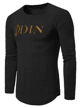 Letter Print Round Neck Long Sleeve Men's T-Shirt