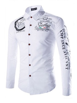 Lapel Letter Print Single-Breasted Men's Shirt