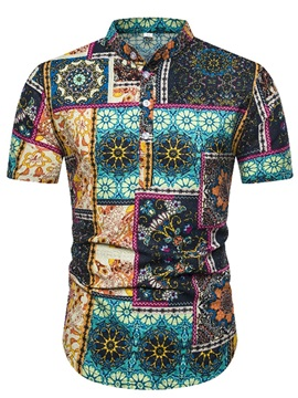 Stand Collar Ethnic Floral Print Summer Men's Shirt