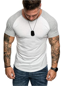 Color Block Casual Patchwork Slim Men's T-Shirt