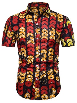 Color Block Print Short Sleeve Men's Shirt