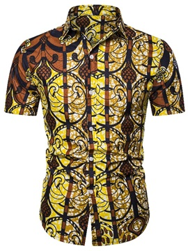 Ethnic Print Lapel Color Block Men's Shirt