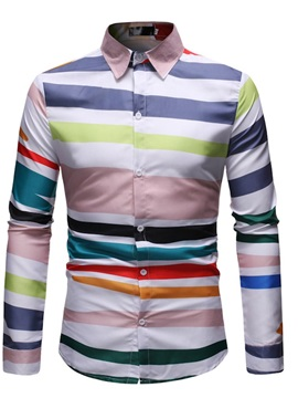 Lapel Color Block Stripe Men's Shirt