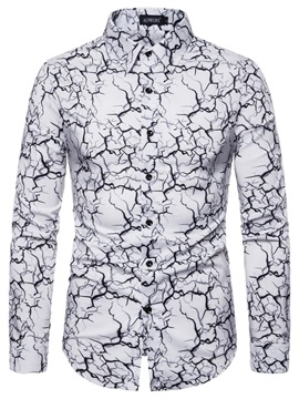 Lapel Fashion Unique Print Slim Men's Shirt