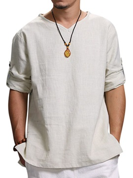 Casual Plain Loose Three-Quarter Sleeve Men's T-Shirt