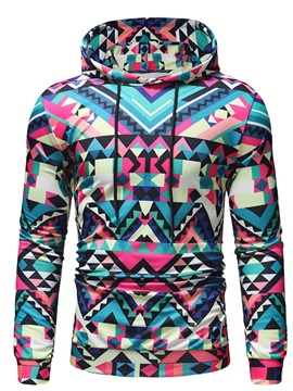Color Block Geometric Print Pullover Men's Hoodie