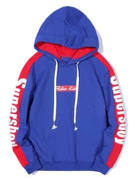 Hooded Letter Print Pullover Color Block Men's Hoodie