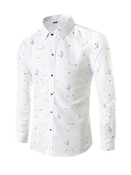 Casual Lapel Simple Print Button Men's Shirt