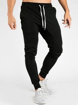 Plain Stripe Pocket Lace-Up Men's Casual Pants