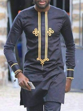 African Fashion Color Block Print Long Sleeve Men's T-Shirt