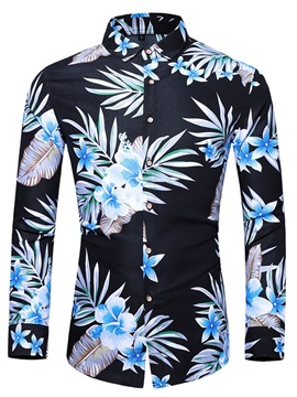 Lapel Floral Print Long Sleeve Fashion Men's Shirt