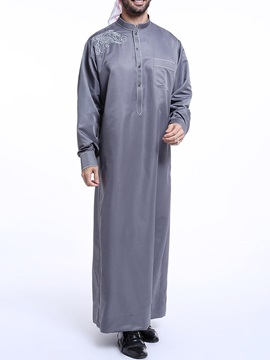 Stand Collar Casual Long Loose Men's Shirt