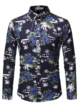 Color Block Floral Lapel Men's Shirt